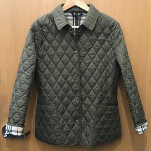 Burberry London Diamond Quilted Olive Jacket, szS